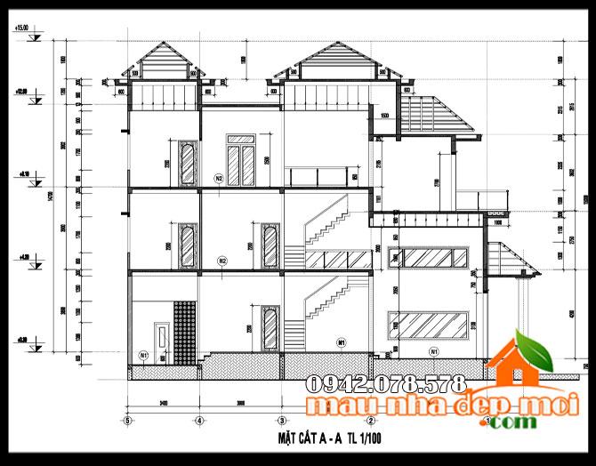 bản vẽ thiết kế biệt thự nhà phố đẹp 2 tầng 8x17m
